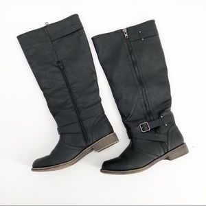 JustFab Rufina Wide Size 8.5 Black Knee High Boots